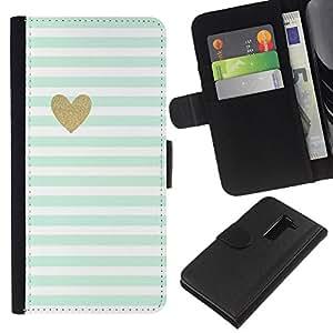 All Phone Most Case / Oferta Especial Cáscara Funda de cuero Monedero Cubierta de proteccion Caso / Wallet Case for LG G2 D800 // Sheet Heart Minimalist Clean Stripes