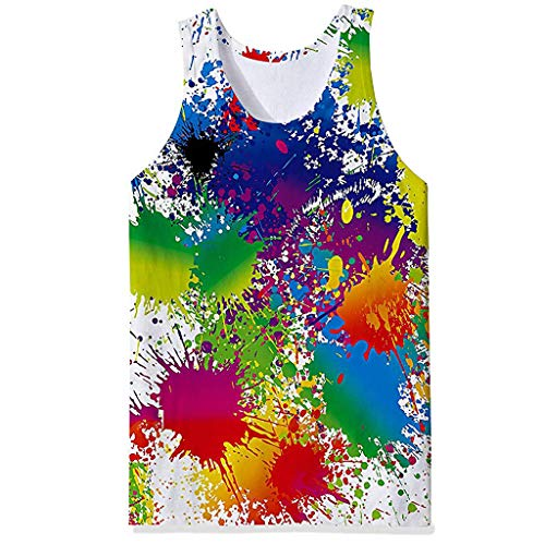 Benficial-Mens Clothes Men's Summer Fashion 3D Colourful Printing Sleeveless Leisure Sports Vest Tops White ()