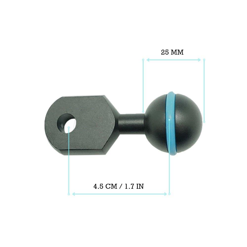 CamDive 1.7''/4.5cm Aluminium 1''Ball and YS head adapter arm for Underwater Strobe/Housing