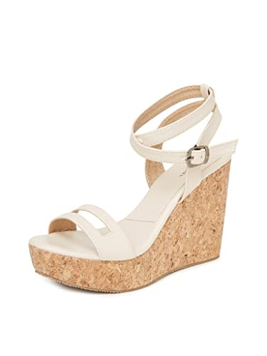 fcb392691d33a MarcLoire Heels & Wedges Sandal for Womens/Girls 4 Inch Heels, Synthetic,  Cream