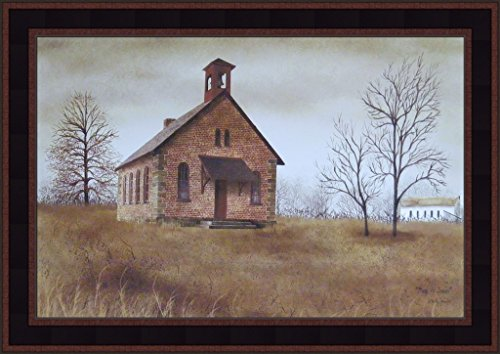 Back To School by Billy Jacobs 15x21 Little Country Brick School House Primitive Folk Art Print Framed Picture ()
