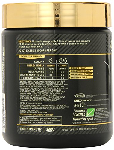 Optimum Nutrition Gold Standard Pre Workout with Creatine, Beta Alanine, and Caffeine for Energy, Flavor: Blueberry Lemonade, 30 Servings