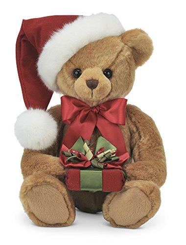 Bearington Holden Presents Christmas Stuffed Animal Teddy Bear in Santa Hat, 15 inches