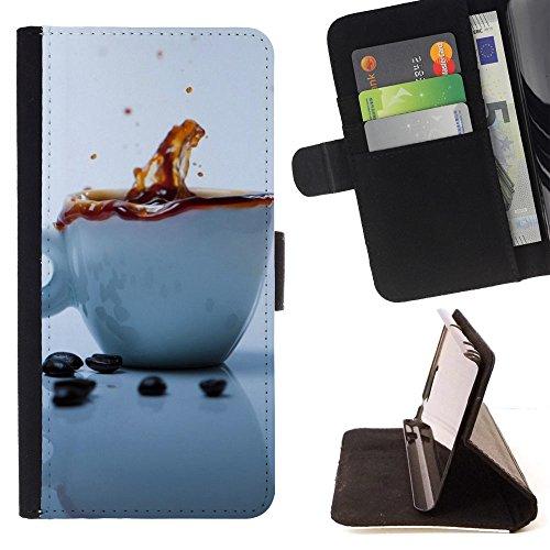 God Garden - FOR Apple Iphone 6 - Coffee Splash - Glitter Teal Purple Sparkling Watercolor Personalized Design Custom Style PU Leather Case Wallet Fli