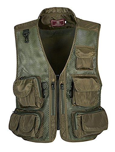 Gihuo Men's Outdoors Utility Hunting Travels Tactical Mesh Removable Vest with Multiple Pockets (L, Army Green) (Pocket Hunting)