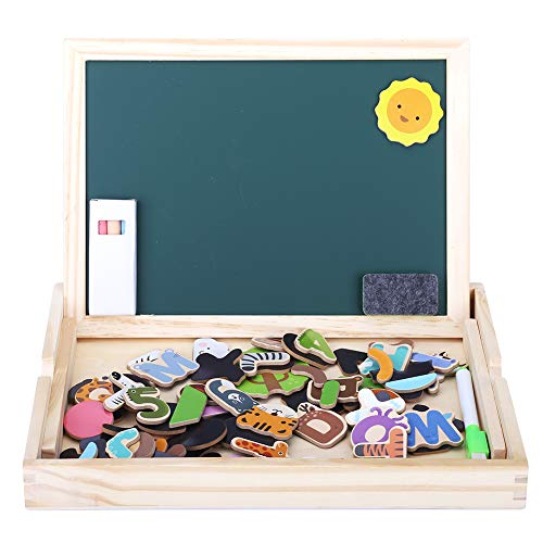 GEDIAO Wooden Drawing Board Magnetic Letters Educational Toy Animals Puzzle for Toddlers
