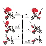 BP 6-in-1 Deluxe Baby Stroller Tricycle Grow With Me Trike with One Button Rotating Seat Function for Interaction with Parents Push Bar Storage Bag Included