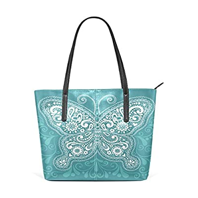 Womens Leather Top Handle Shoulder Handbag Butterfly Large Work Tote Bag 50%OFF