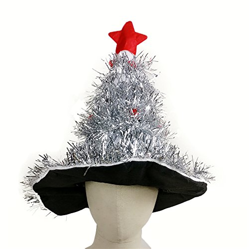 Cheap Xmas Fancy Dress Costumes (ArMordy(TM) Tinsel Christmas Tree Hat On 1pc Headband Father Christmas Xmas Party Santa Fancy Dress Costume Hat Holiday decorations Headgear)