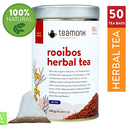 Teamonk Rooibos Herbal Tea, 50 Teabags | Helps in Detoxification | Sourced from South Africa