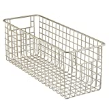 deep freezer shelves - InterDesign Classico Kitchen Pantry Freezer Wire Basket Organizer, Deep, Satin