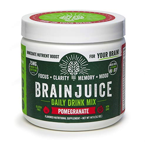 BrainJuice Brain Booster Daily Drink Mix, Pomegranate Supplement for Improved Energy, Memory, Focus, Clarity Mood, Gluten-Free, Non-GMO 30 Servings
