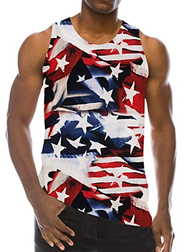 RAISEVERN Men's Tank Tops Workout Sleeveless Tee Cool American Flag Printed Fitness Vest Athletic Training Undershirts