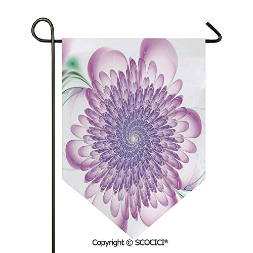 Hypnotic Violet - SCOCICI Easy Clean Durable Charming 12x18.5in Garden Flag Floral Harmonic Spirals with Flourishing Hypnotic Vision Petals Dreamy Print,Violet Double Sided Printed,Flag Pole NOT Included