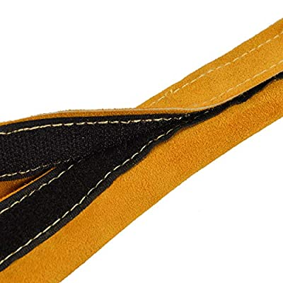 Holulo TIG Welding Torch Cable Cover Flame-Resistant Leather Kevlar Stitched, Yellow MIG/Plasma Cable Sleeves Tig Cover, 137''