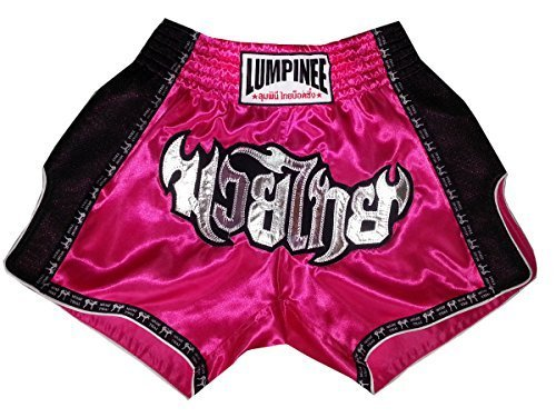 Lumpinee Shorts Muay Thai Boxing Trunk Dark Pink Retro Style Boxing Shorts Grö ß e L