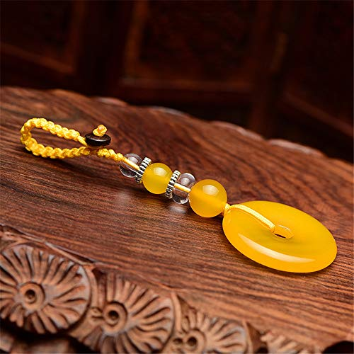 Traditional Chinese Jade Agate and Quartz Charm Keychain Chinese Style Ornament Lucky Charm (yellow)