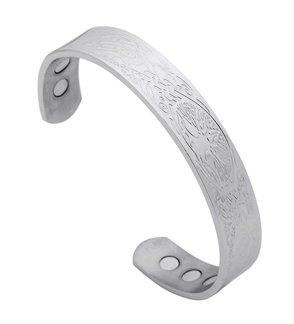 Health Care Magnetic Stainless Steel Bracelet Tree of Life Talisman Pagan for Women Magnet Cuff Bangle Qiju WMB109448