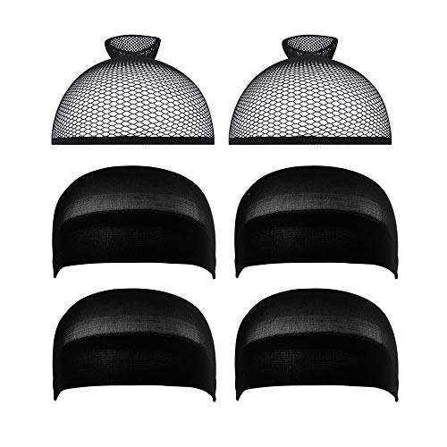 6 Pack Dreamlover Black Mesh Net Open End Wig Caps and Stocking Wig Caps for Long and Short Hair (2 Pack Mesh Net and 4 Pack Stocking)
