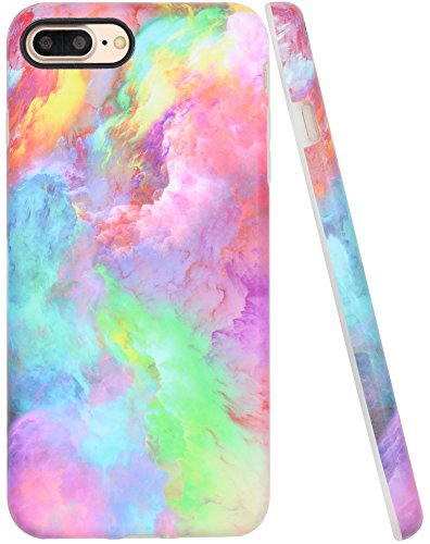 iPhone 8 Plus Case for Girls, iPhone 7 Plus Case Pink, A-Focus Colorful Pink Blue Red Abstract Cloud FrostedAnti-Finger Shock Proof Slim Shell Case for iPhone 7/8 Plus 5.5 - Matte Pink 4
