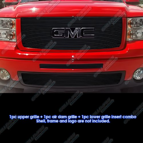 Fits 07-2013 GMC Sierra 1500 New Body /07-2010 Denali Black Billet Grille Grill Combo #G61104H
