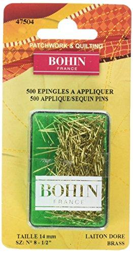Bohin Applique Sequin Pin Brass Size 8-1/2in 500ct