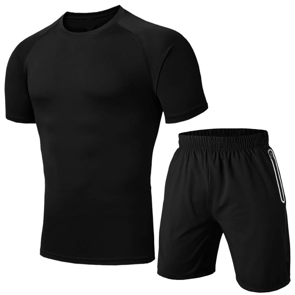 Fitfulvan Men's Base Layer, Cool Dry Short Sleeve Compression Set, Sport Johns Gym Fitness Running Blouse and Pants Black