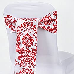 BalsaCircle 10 Red Damask Flocking on White Chair Sashes Bows Ties - Wedding Party Ceremony Reception Decorations Cheap Supplies