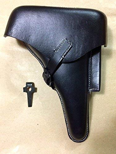 (WWII German Luger P08 Hardshell Black Leather Holster w. Takedown Tool - Repro, WWII Reproduction, WW2 Reproduction,WWII/WWI, Collectibles Goods, Collectibles Products,WWII repro)