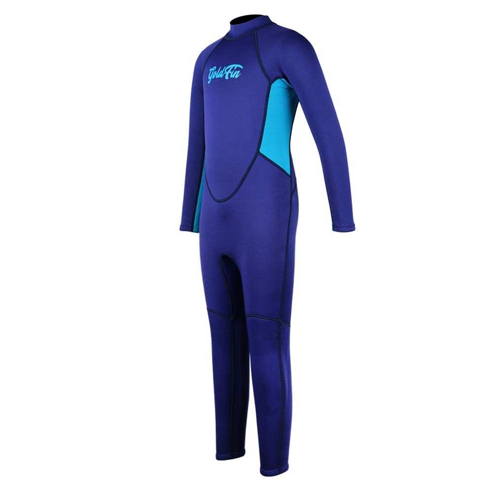 Goldfin Kids Wetsuit Full Body Wetuit- 2mm Neoprene Thermal Swimsuit Back Zipper for Fishing Snorkeling Diving Wetsuit for Girls Boys SW018 (Blue, 8) by Goldfin