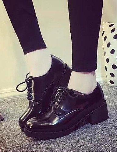 Black Cn39 Njx us8 comfort Eu39 De 5 Black Redonda Mujer tacón us7 Robusto Eu38 Punta Cn38 Uk5 tacones Hug Uk6 semicuero 5 negro vestido Zapatos Casual 6xrUpqF6