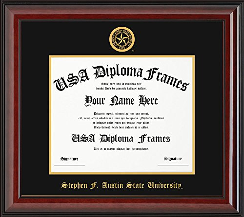 Stephen F. Austin University Diploma Frame - Cherry Glossy Frame with Black Suede (University Cherry Wood)