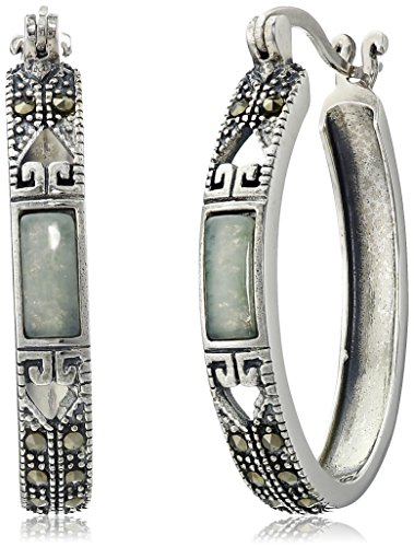 Sterling Silver Marcasite Green Earrings