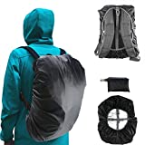 Frelaxy Backpack Rain Cover 100% Waterproof Backpack Cover, Upgraded Anti-Slip Cross Buckle Strap & Rainproof Storage Pouch & Silver Coated, for Hiking (Black, S (for 15L-25L Backpack))
