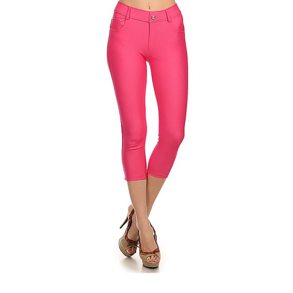 Women's Stretchy Skinny Jeggings Shorts & Capri Pull On Style Fuchsia