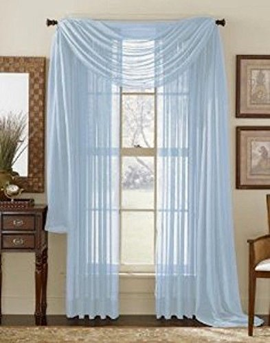 Avanti Home Elegance Solid Colors 1 PC Scarf Valance Soft Sheer Voile Window Topper Swag Panel Curtain 37' x 216' Long (1 Scarf: 37' x 216', Light Blue)
