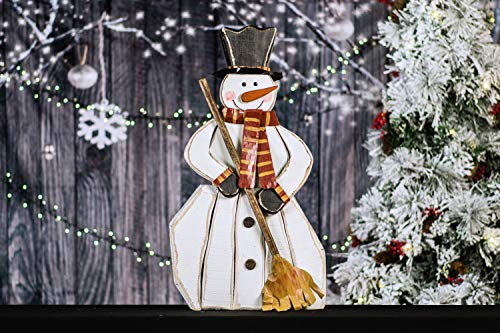 Wooden Snowman With Broom -