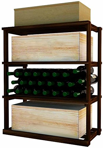 Wine Cellar Innovations DPI-DW-RBWC-A3 Designer Series Rectangular Bin/Wood Case Storage for below tabletop Wine Rack, Rustic Pine, Without Lacquer Finish, Dark Walnut Stain