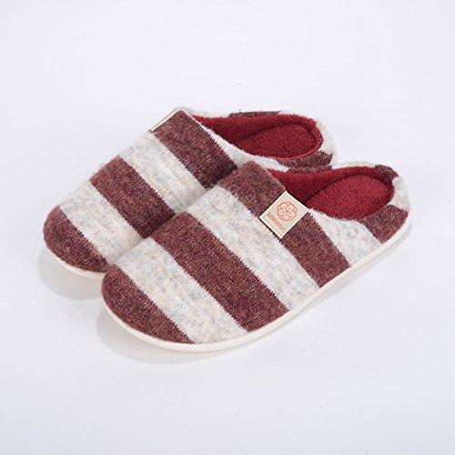 Inverno fankou uomini e donne coppie pavimento strisce antiscivolo ispessimento caldo fondo morbido cotone indoor pantofole, 39-40 metri, cremisi