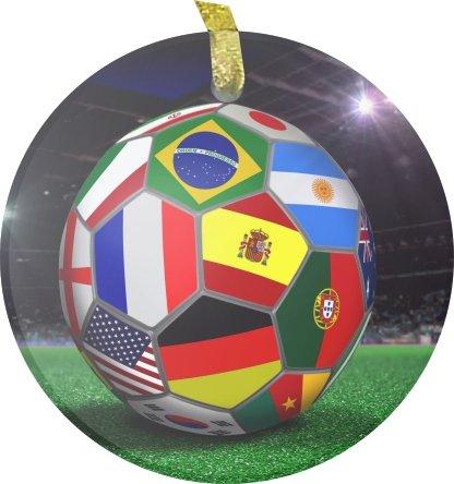 Rikki KnightTM Brazil World Cup 2014 All Team Flags Football Soccer Ball Design Bevelled Glass Ornament