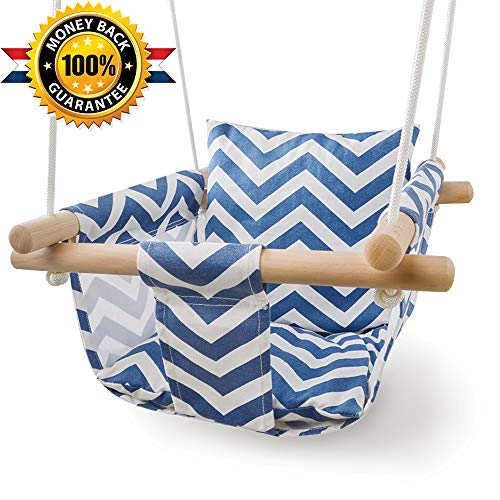 Patio Canvas Hanging Swing Hammock for Toddler (Blue/White) (Swing Hammock Wooden)