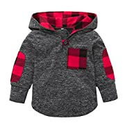 Minisoya Fashion Toddler Baby Girl Boys Plaid Hoodie Pocket Sweatshirt Pullover Hooded Tops Kids Warm Clothes (Gray, 12M)