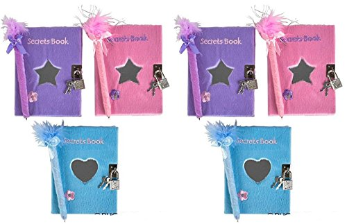 Teen Girls Locking Diaries / Heart Journals With Mirror & Feather Boa Pen - 6 Pack Assortment by SK Novelty