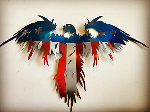 Metal Art of Wisconsin 2 Foot 3 Dimensional 16 Gauge Cold Rolled Glossy Clear Coat Painted 2 Layered Flying Freedom Eagle| Wall Decor | Home Decor | Wall ()