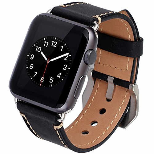 Apple Watch Band, 42mm iWatch Strap Premium Vintage Crazy Horse Genuine Leather (Horse Clasp)