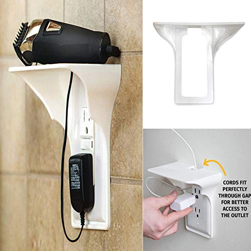 dezirZJjx Ultimate Outlet Shelf,Wall Shelf, Wall Outlet Shelf Socket Mobile Phones Holder Kitchen Bathroom Storage Rack White