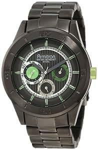 Armitron Men's 20/4852GNDG Colorful Dress Green Accented Gunmetal-Tone Multi-Function Watch