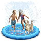 QPAU (Upgraded 2020 Version) Splash Pad  68 inch Sprinkler for Kids Dogs  Kiddie Baby Shallow Pool Outside Toys Water Toys for Kids  Outdoor Toys for Toddlers Age 3-5 (Blue)