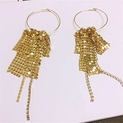 usongs personality exaggerated atmospheric circle diamond tassel multilayer metal glitter mesh with money red earrings women girls long section ()