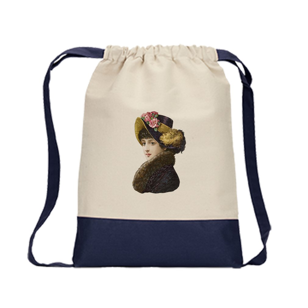 Backpack Color Drawstring Woman With A Black Coat Black Hat By Style In Print   Navy